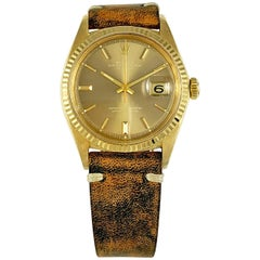 Rolex 18 Karat Yellow Gold Datejust with Taupe Mirror Dial Wristwatch, 1960s