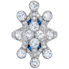 Art Deco Platinum Diamond Custom Cocktail Ring