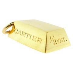 Cartier 18 Karat Yellow Gold 1/2 Oz Ingot Pendant or Charm