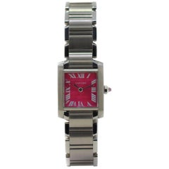 Cartier Tank Francaise W51030Q3 with Stainless-Steel Bezel and Pink Dial