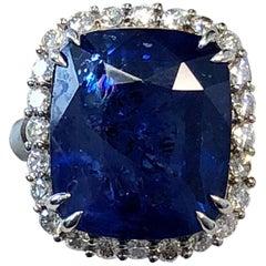 GIA Ceylon Cushion Blue Sapphire and White Diamond Cocktail Ring in Platinum