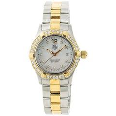 TAG Heuer Aquaracer Waf1450 Womens Quartz Watch Mop Dial Two-Tone Diamond