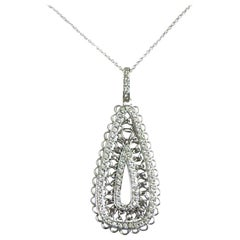 18 Karat White Gold White Diamonds Renaissance Garavelli Pendant a with Chain