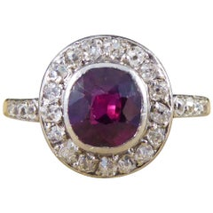 Antique Edwardian 0.85ct Ruby, Diamond Cluster Ring in 18ct Gold & Platinum