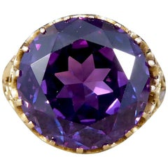 Antique Edwardian Synthetic Alexandrite 14 Carat Yellow Gold Ring