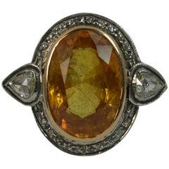 Huge Natural Orangish Yellow Sapphire and Diamond Cluster Ring