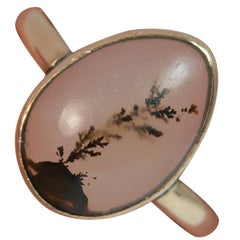 Victorian Dendritic Agate and 9 Carat Rose Gold Solitaire Ring