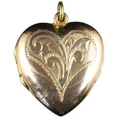 Antique Victorian 9 Carat Gold Heart Locket, circa 1890