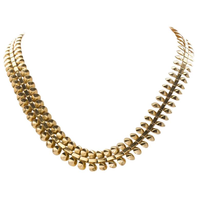 18 Karat Yellow Gold French Ornate Chain Necklace For Sale At 1stdibs