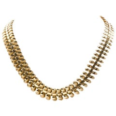 18 Karat Yellow Gold French Ornate Chain Necklace