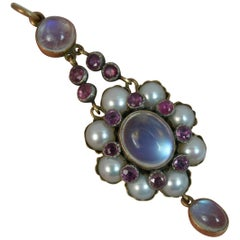 Arts & Crafts Period Moonstone Ruby and Pearl 9 Carat Gold Pendant