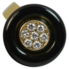 French 18 Carat Gold Onyx and VS Diamond Halo Disc Ring