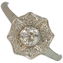 Antique Old Cut Diamond and Platinum Solitaire Ring