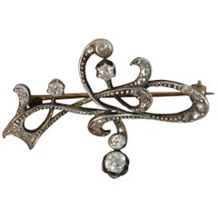 Edwardian Art Nouveau 15 Carat Gold and Old Cut Diamond Brooch