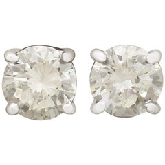 Contemporary 2000s 1.60 carat Diamond and White Gold Stud Earrings