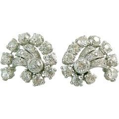 Vintage 3.74 Carat Old European Cut Diamond Earrings, 1950s-1960s Cluster Stud