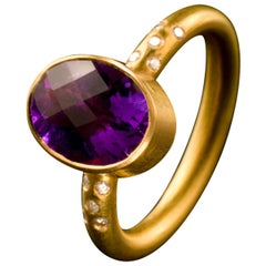Amethyst White Diamond 18 Karat Gold Cocktail Ring