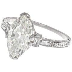 Art Deco 1 Carat Plus  Carat Marquise Cut Diamond Platinum Engagement Ring