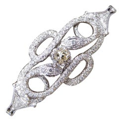 Diamond Set Double Snake Bracelet with Lemon Tinted Diamond Centre