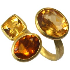 Three Citrine Cluster 18 Karat Gold Ring Handmade by Disa Allsopp