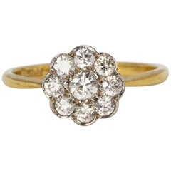 Edwardian Diamond Daisy Cluster Ring in 18 Karat Gold