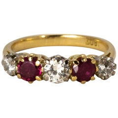 Victorian Ruby and Diamond Five-Stone Ring in 18 Karat Yellow Gold