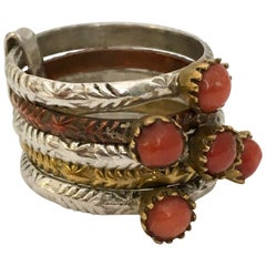 Vintage Natural Coral Harem Ring Silver Brass Copper Five-Band Stack