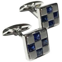 Men's Cufflinks 18 Carat White Gold with Sapphires