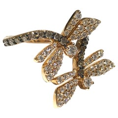 MIMI Milano Dragonfly Ring in 18 Carat P/G with White and Champagne Diamonds