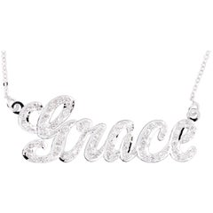 Customizable Diamond Nameplate Necklace