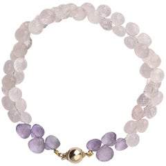 9 Carat Yellow Gold, Amethyst and Rose Quartz 'Cassis' Beaded Bracelet