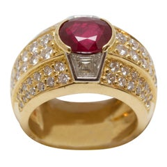 Ruby and Diamonds Dome Ring made in France