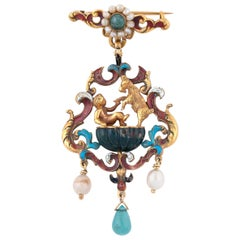 Renaissance Revival Pearl, Enamel and Gem-Set Pendant, circa 1880