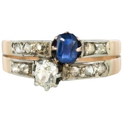 "19th Century French ""You and Me"" Sapphire Diamond Ring"
