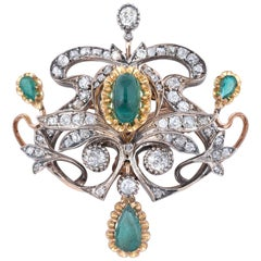 Emerald and Diamond Brooch or Pendant