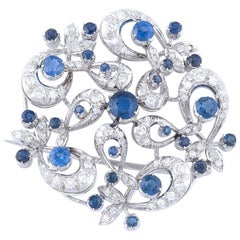 Sapphire and Diamond Floral Brooch or Pendant