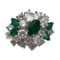 Oscar Heyman Diamond Emerald Platinum Ring