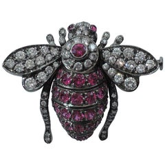 Contemporary Ruby and Diamond Bee Brooch by Sabbadini of Milan
