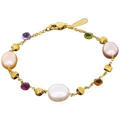 Marco Bicego Paradise Yellow Gold Multi Gemstone and Pearl Bracelet