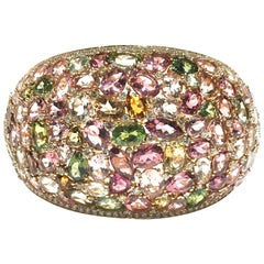 Crivelli Italian Made Multi Stone and Diamond Bangle in 18 Carat P/G