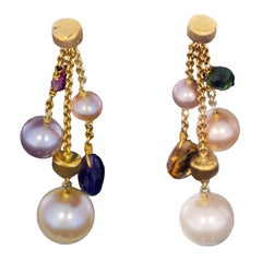Marco Bicego Paradise Yellow Gold Multi Gemstone and Pearl Drop Dangle Earrings
