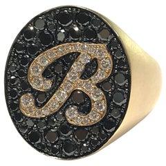 Crivelli Italian Made Black and White Diamond B Ring in 18 Carat R/G