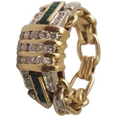 18 Karat Emerald and Diamond Chain Ring, 1950s, Mid-Century Modern