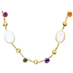 Marco Bicego Paradise Yellow Gold Multi Gemstone and Pearl Necklace