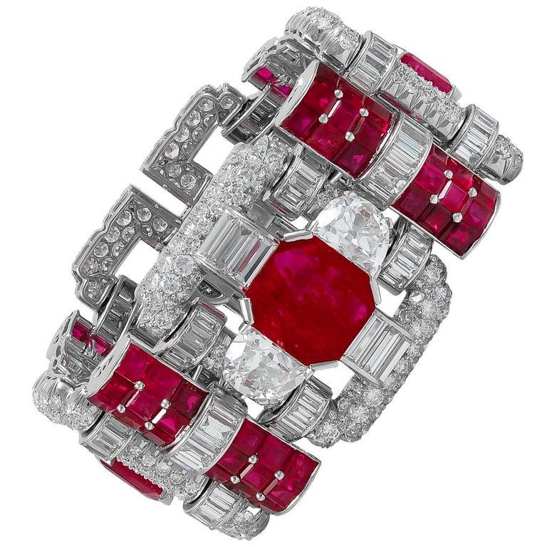 Important 1930s Van Cleef & Arpels Diamond and Ruby Bracelet For Sale