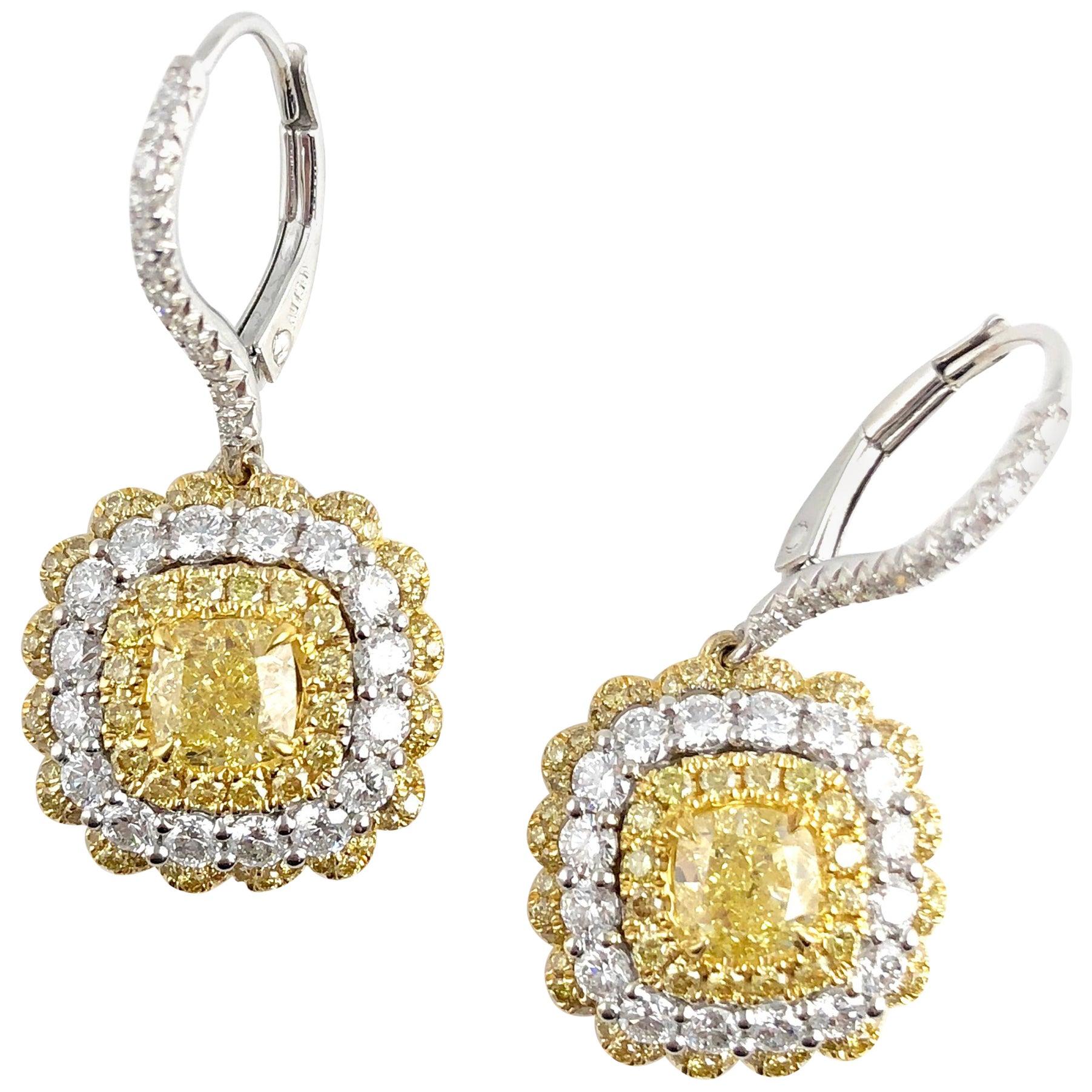DiamondTown GIA Certified 1.30 Carat Natural Fancy Yellow Diamond Lever-Back