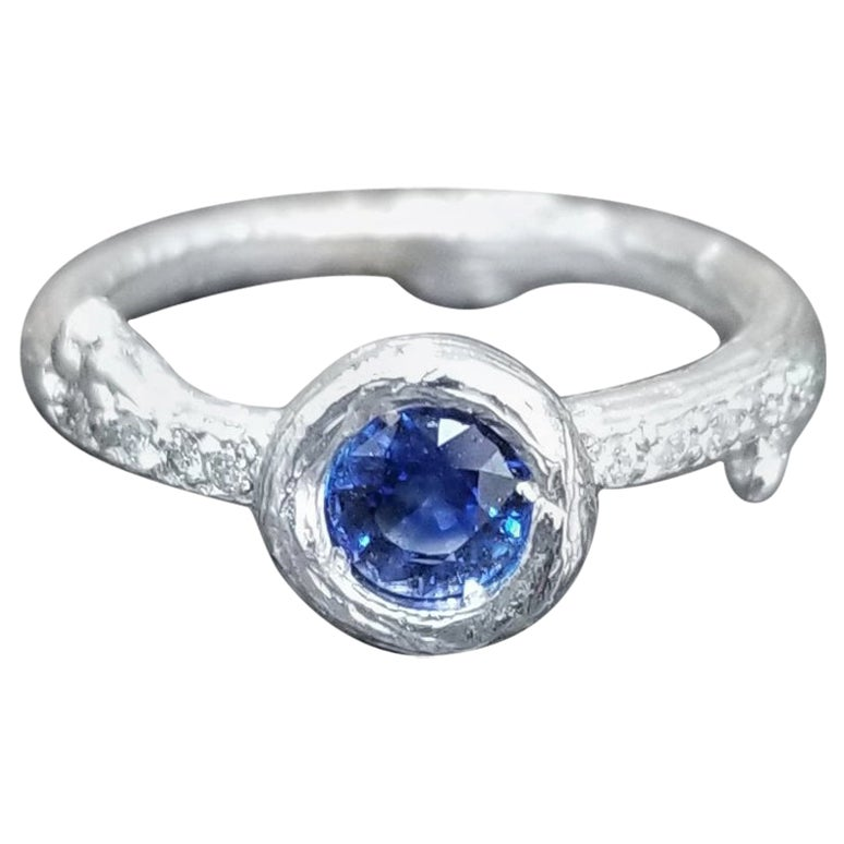 Blue Sapphire and Diamond Bark Ring