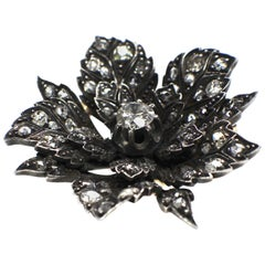 Antique Flower Diamond Brooch, 19th Century
