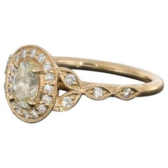 Rose Gold Oval Diamond Vintage Inspired Halo Engagement Ring