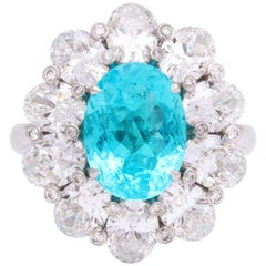 Gem Quality Paraiba Tourmaline Oval Diamond Ring